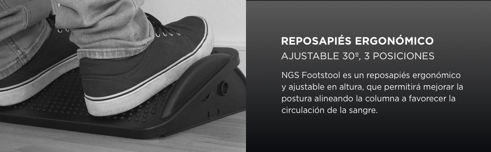 NGS Footstool Reposapiés Ergonómico Altura Ajustable 30º Negro