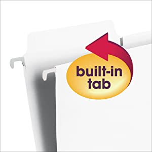 Smead FasTab hanging file folders with built-in tabs, letter size, reinforced tabs, easy to label
