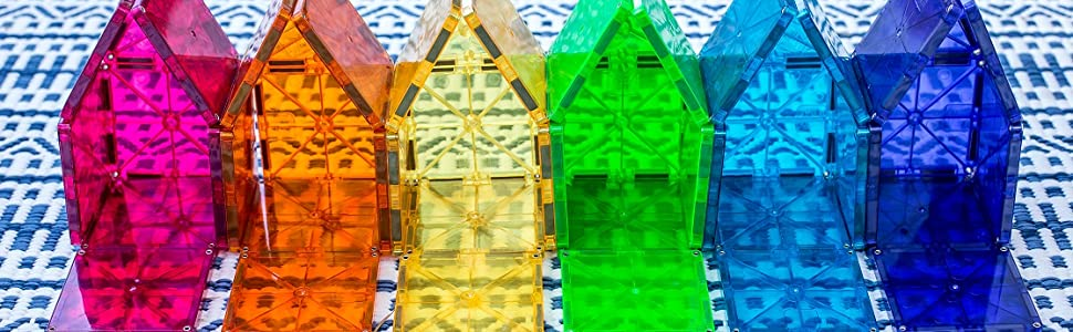 Magna-Tiles magnetic tiles rainbow houses