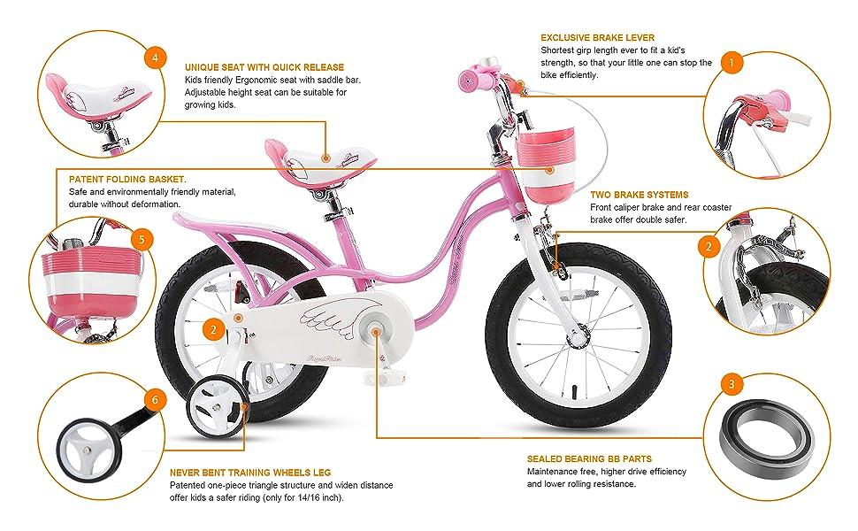 RoyalBaby Little Swan Girl's Bike Features: