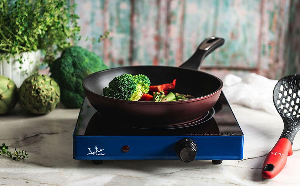 Jata V140 Cocina Eléctrica Vitrocerámica 1 Fuego con Una Placa de 18 cm Cuerpo Metálico Termostato Regulable de Temperatura 2000 W: Amazon.es: Hogar