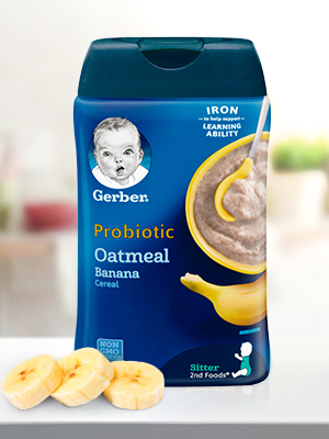 Gerber Fruit and Probiotic Infant Cereal helps to promote digestive health if eaten daily.