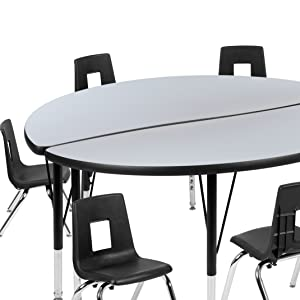 2 Piece Mobile Wave Collaborative Grey Thermal Laminate Activity Table Set