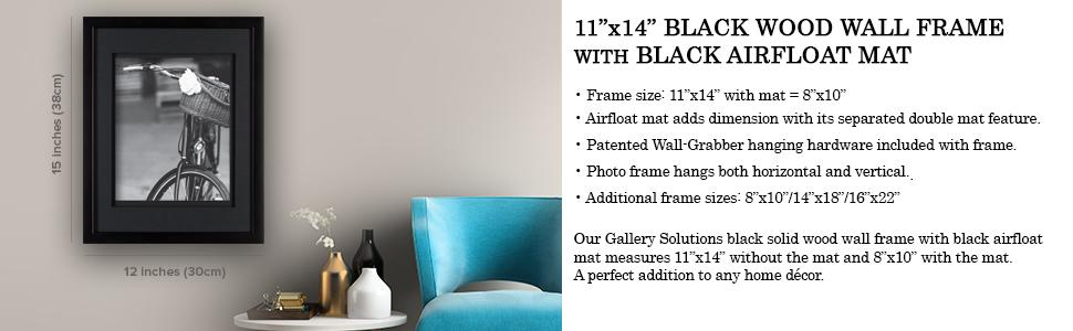 Amazon.com: GALLERY SOLUTIONS 11x14 Black Wood Wall Frame with ...