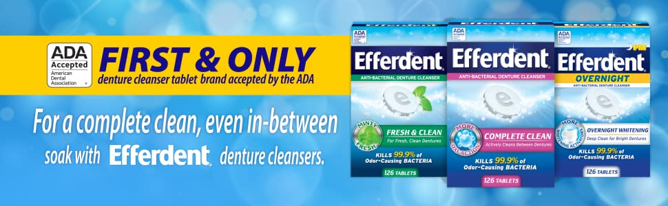 First & Only denture cleanser tablet brand accepted by the American Dental Association