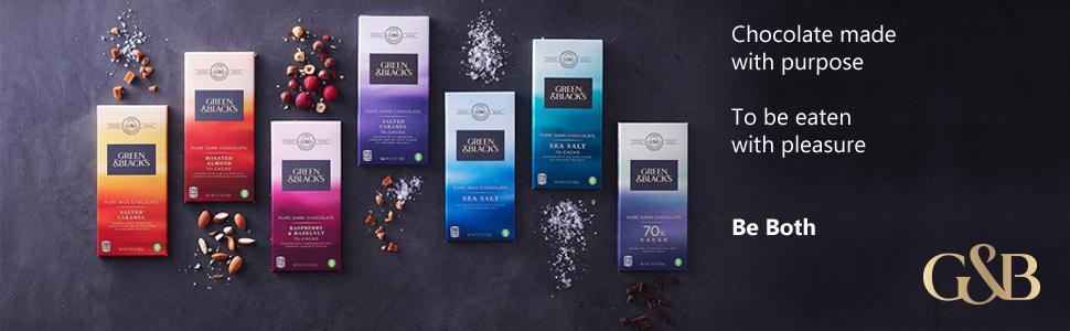organic, chocolate, dark, milk, white. almonds, holiday, gift, green and blacks, caramel, cacao