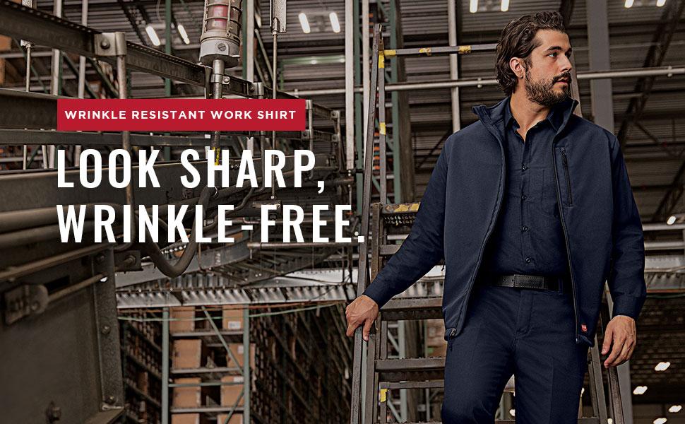 wrinkle free shirt, wrinkle-free work shirt, wrinkle-resistant shirt, red kap wrinkle free shirt
