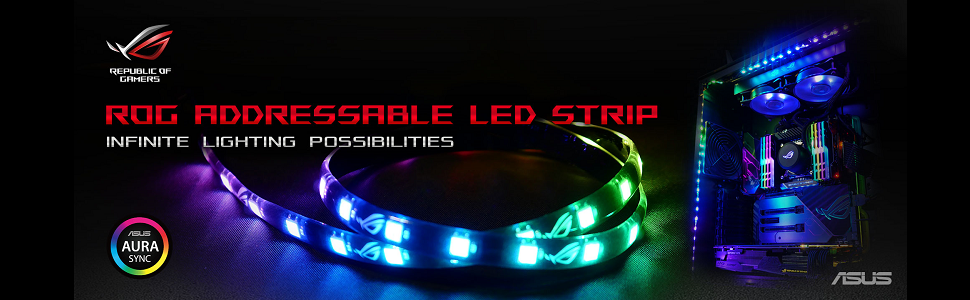 ASUS ROG Addressable LED Strip with Magnetic Backing and Aura Sync RGB - 30  cm