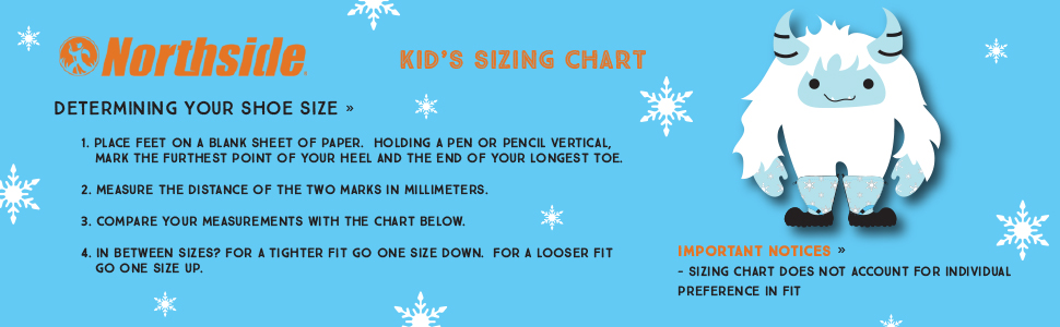 Northside's Sizing Chart for Kids and Toddlers