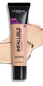 infallible total cover, loreal makeup, total cover, long wear foundation, makeup, loreal