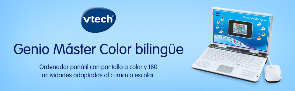 Amazon.es: VTech Genio Máster Bilingüe, Ordenador portátil para niños, Pantalla, enseña Vocabulario, matemáticas, Ciencias a través de 180 Actividades en español e inglés, Color Azul (80-133847), (3480-133847)