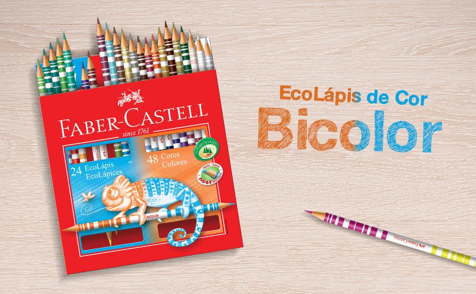 ecolápis de cor, lápis de cor, faber-castell, bicolor, ecolápis bicolor, lápis bicolor