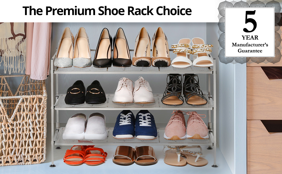 Seville Classics 3 Tier Stackable 12 Pair Shoe Rack Metal Freestanding Storage Shelf For Bedroom Closet Entryway Dorm Room Satin Pewter Mesh Home Kitchen