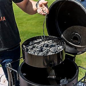 carbón, ahumador, cesta, humo, ahumar, barbacoa, cocina, comida, camping, patio, acero, bronco, hamburguesas, parrilla