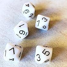 hand2mind Ten-Sided Decahedra 0-9 Dice Set of 5 ETA hand2mind 5786
