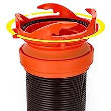 bayonet-style swivel fittings; RV sewer hose