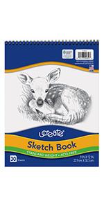 """UCreate Sketch Book, Standard Weight, 9"""" x 12"""", 30 Sheets"""