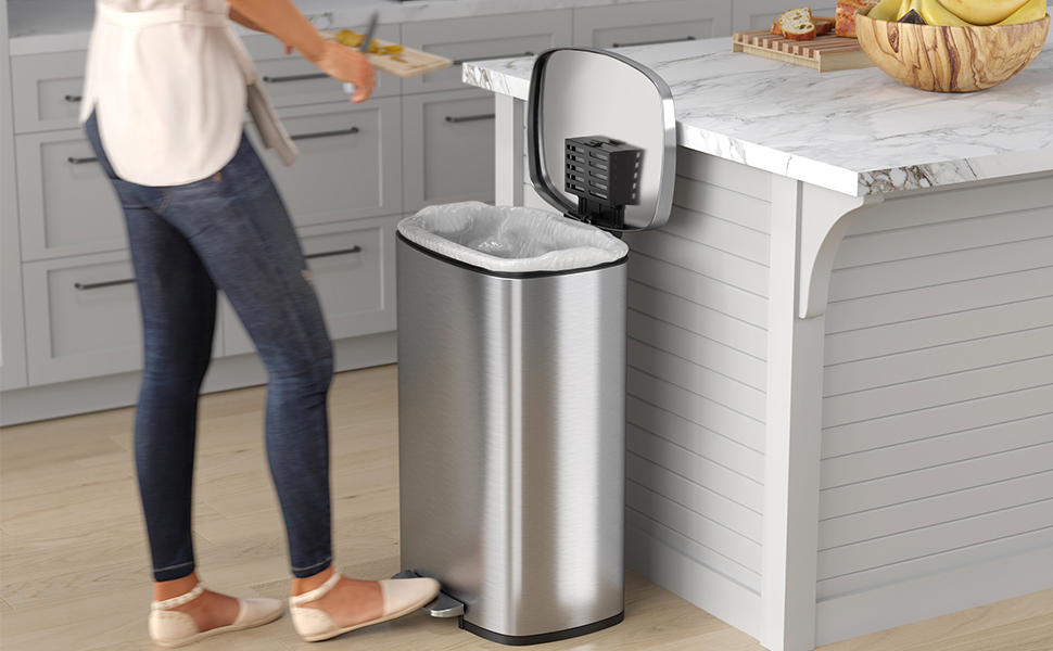Semi-Round iTouchless SoftStep 13.2 Gallon Step Trash Can with Odor Control System Stainless Steel Home-Silent and Gentle Open//Close Space Saving 50 Liter Garbage Bin for Kitchen Office