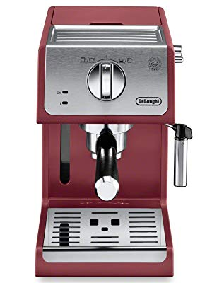 DeLonghi ECP3220R 15 Bar Espresso Machine with Advanced Cappuccino System, 11.4 x 9.5 x 14.2 inches, Red