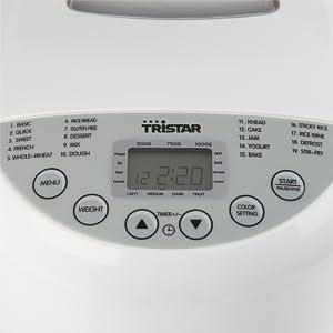 Panificadora Tristar BM-4586 – Grado de tostado de la corteza ajustable – programa sin gluten