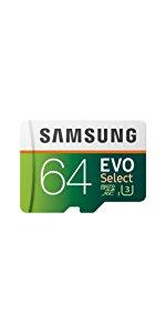 Samsung 64GB MicroSDXC EVO Select Memory Card w/ Adapter