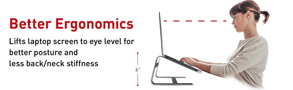 Eye Level Laptop Stand for better posture prevents neck stiffness elevated protection from spills