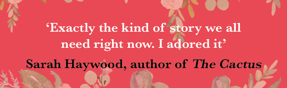 Sarah Haywood review quote on pink floral background