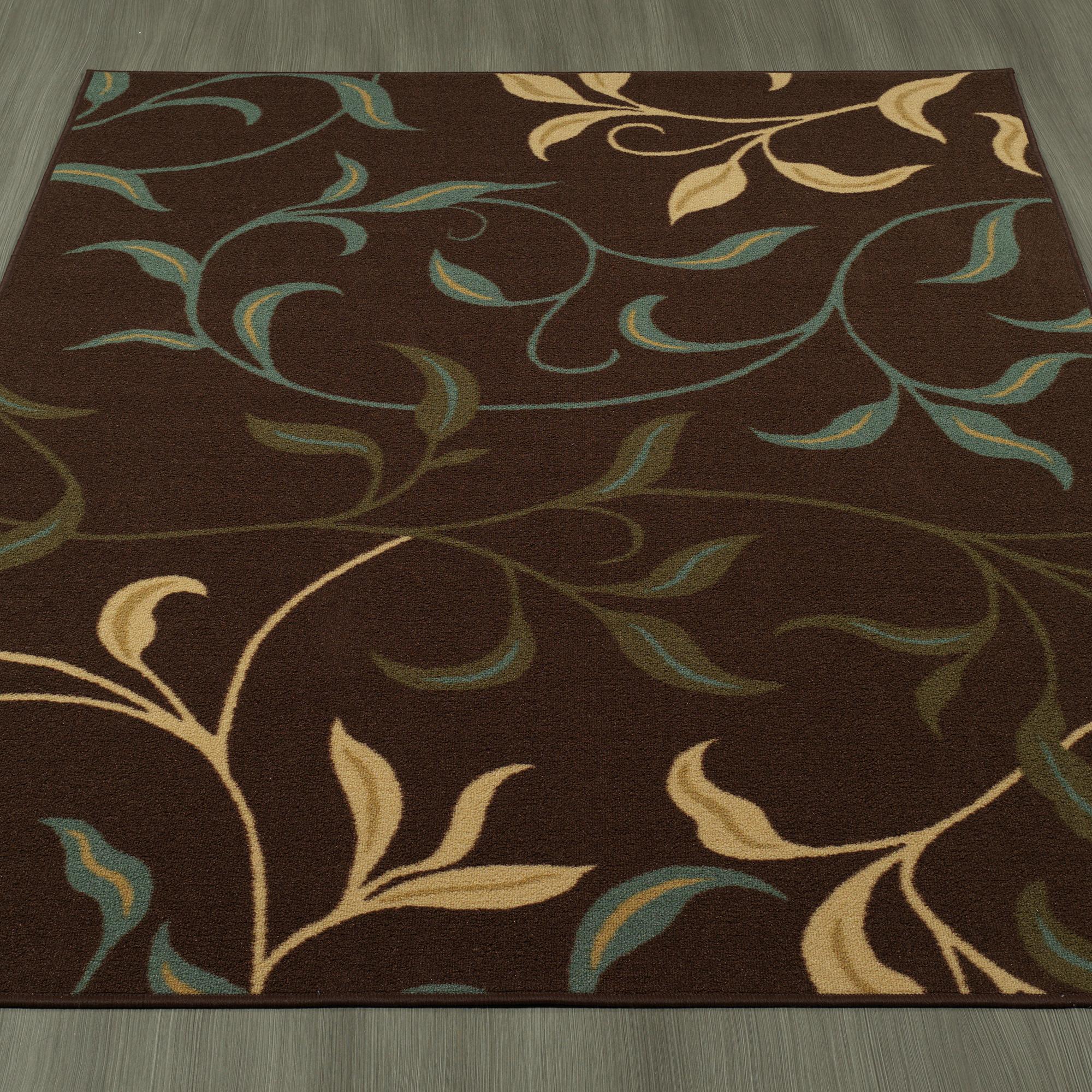 ottomanson ottohome contemporary leaves design. Black Bedroom Furniture Sets. Home Design Ideas