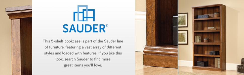 Sauder Miscellaneous Storage 5-Shelf Bookcase in a Washington Cherry finish