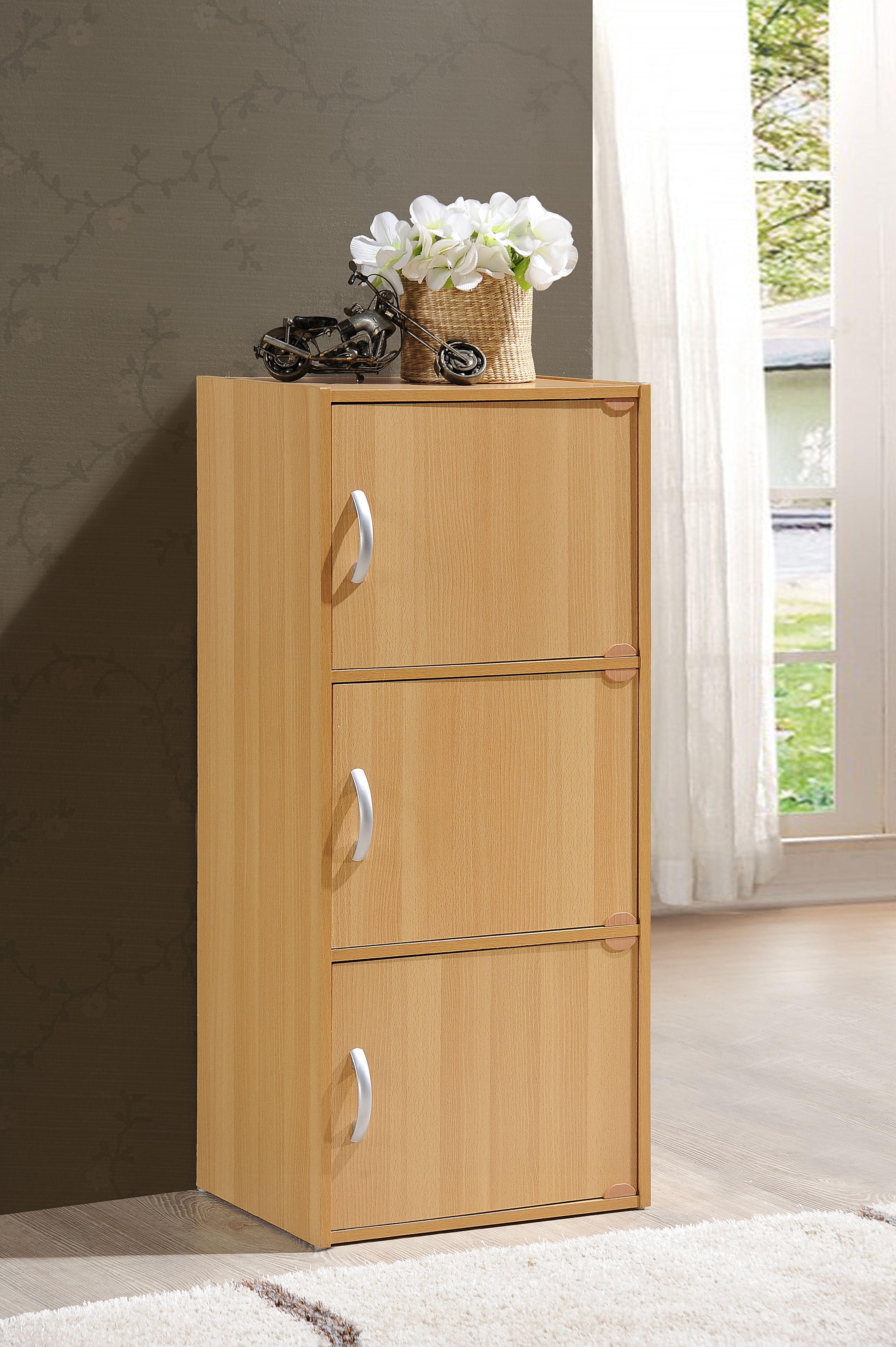 Amazon Com Hodedah Import 3 Shelf Bookcase Cabinet Black