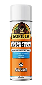 Gorilla Waterproof Patch and Seal Rubberized Spray Sealant, White, 16 ounce