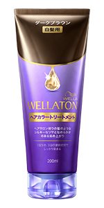 """「Wellaton ウエラトーンヘアカラートリートメント」のパッケージ。 色は紫。チューブタイプ。染めたてのリッチカラーの色合いを長く楽しむためのヘアカラートリートメント。"""