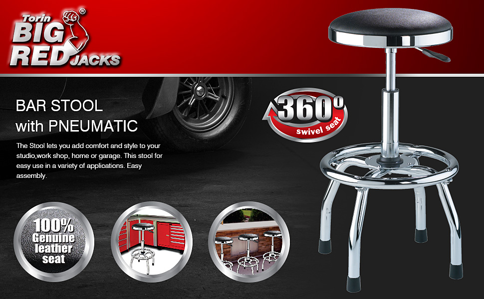 Torin BIG RED Swivel Bar Stool with Adjustable Height: Padded Shop Seat with Chrome Plated Legs