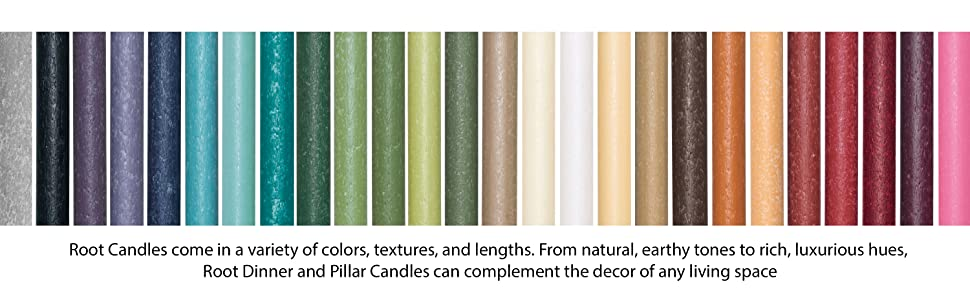 root pillar dinner candle colors