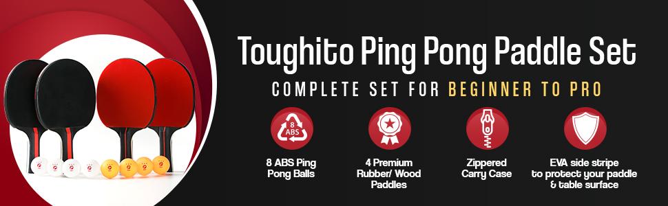 Amazon.com: Aero Black Pro Ping Pong Paddle Set | Set ...