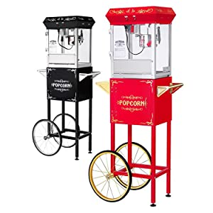 gnp foundation popcorn machine 6oz popcorn popper with cart 6 ounce red or black - Popcorn Makers