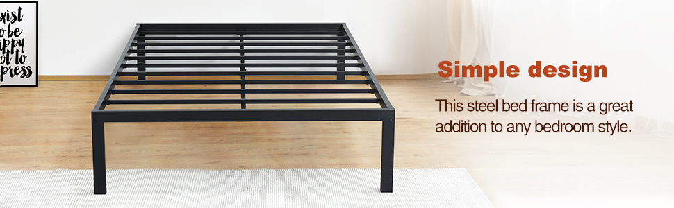 Amazon Com Primasleep 18 Inch Tall Metal Bed Frame Dura Steel Slat Anti Slip Support No Box Spring Needed Queen Black Furniture Decor