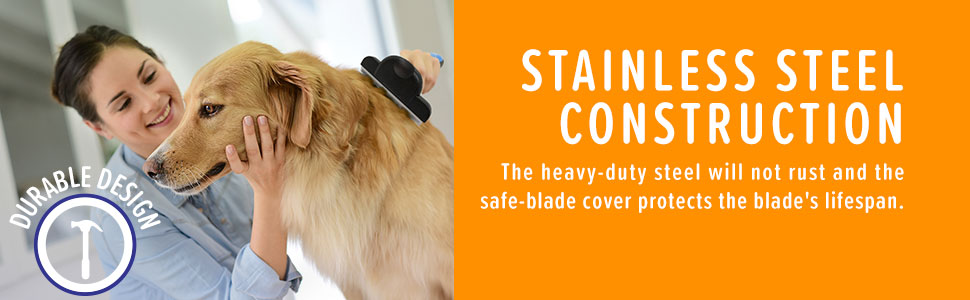 The heavy-duty steel will not rust and the safe-blade cover protects the blade's lifespan.