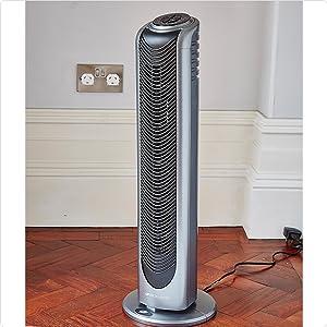 Bionaire BT19 colonne ventilateur modèle à oscillation avec télécommande et minuterie hauteur 74 cm argentnoir