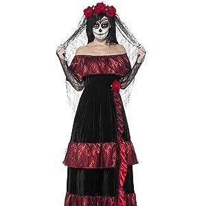 Smiffys-44290L Disfraz de dulce calavera, con vestido y diadema ...