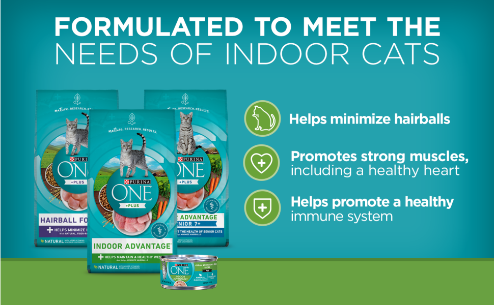 Formulated to meet the needs of indoor cats. Helps minimize hairballs and promotes strong muscles