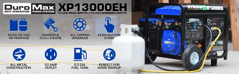 Duromax XP13000EH Portable Homebackup Dual Fuel Generator