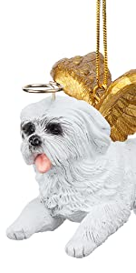 Design Toscano Honor the Pooch: Maltese Holiday Dog Angel Ornament