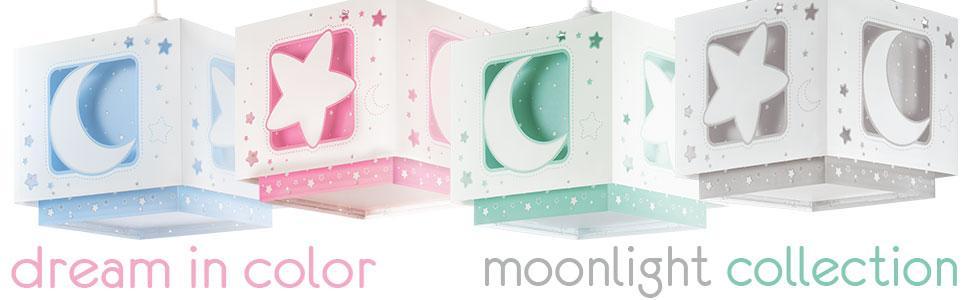 Dalber Lámparas infantiles luna y estrellas colores