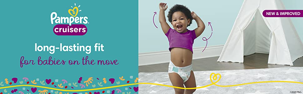 Pampers cruisers: long-lasting fit for babies on the move