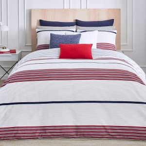 lacoste milady red comforter duvet cotton cover soft stripe line gray white bedroom bed guestroom