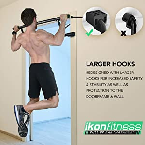 Ikonfitness Ultimate 4 in 1 Doorway Raised Height Pull Up Bar Dips Bar Power Ropes for Home Workout