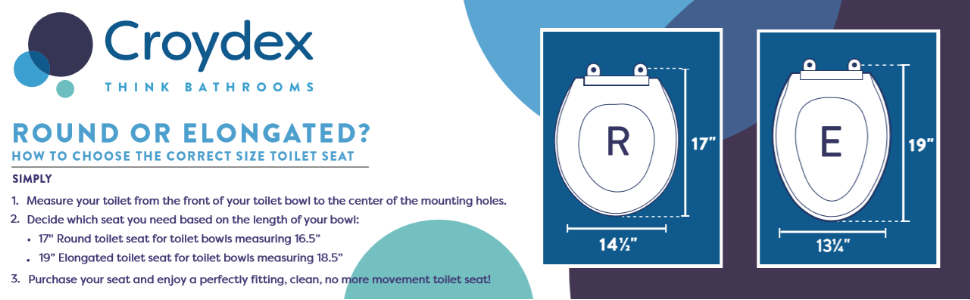 Toilet seat measurement guide. Round seat is 17 inches and elongated seat is 19 inches