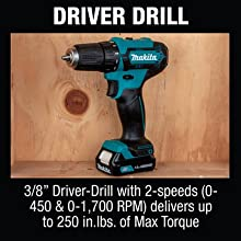 Driver drill driver-drill two speeds 2-speed variable delivers RPM rotations per minute torque