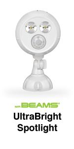 mr beams ultrabright spotlight, mb390, bright led spotlight, battery powered motion spotlight